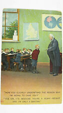 1910s Edwardian Comic Postcard Schoolboy Bantam Heavy-Weight Boxer Boxing Match