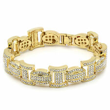 "Men's Gold Plated I Thick Link Iced Out Clear Cz Stones Hip Hop Bracelet 9"" Inch"
