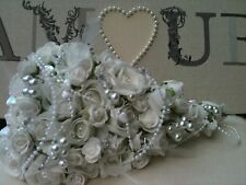 WHITE ROSES CRYSTALS PEARLS HEARTS FEATHERS SMALL TEARDROP BOUQUET WEDDING FLOWE