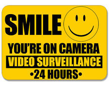 7x10 inch LARGE Smile You're On Camera Video Surveillance Sticker - 24 hours cam
