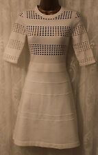 Karen Millen Knit Casual 3/4 Sleeve Cut Out Crew Neck Jumper White Dress 2 10 38
