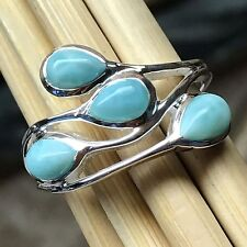 Natural Dominican Larimar 925 Solid Sterling Silver Stackable Ring sz 6