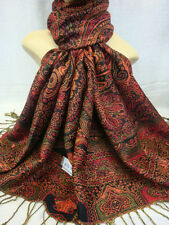 2PLY THICK PASHMINA PAISLEY DESIGN 07B4 BURGUNDY COLOR WRAP OR SCARF