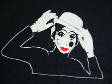 Vintage Funny French Street Mime Vacation Tourist  Black T Shirt Adult Size L