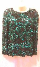 VINTAGE BLACK TIE SILK AND SEQUIN  BLOUSE SZ M LONG SLEEVE BLACK W/ GREEN SEQUIN