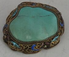 Antique Chinese Export Silver fine Pin, Brooch Gilt enamel filigree Turquoise
