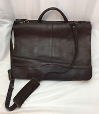 Vtg SOFT Leather Laptop Computer Messenger Bag Slim Briefcase Full Double Flap