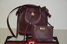 Salvatore Ferragamo Sansy Leather Drawstring Bucket Handbag Bag With Wallet