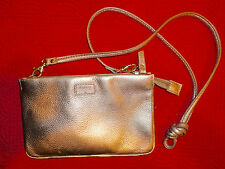 NEW TAGS GOLD FOSSIL MIMI CONVERTIBLE CLUTCH REMOVABLE STRAP LEATHER