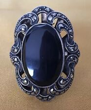Art Nouveau Oval Black Onyx & Marcasite Solid Sterling Ring 925 Germany  Sz 8,5