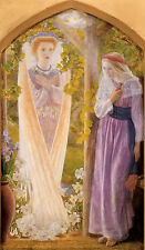 Oil painting arthur hacker - the annunciation Madonna with angel free shipping @