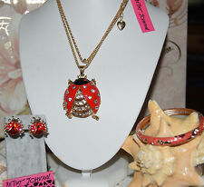 3PC BETSEY JOHNSON LADYBUG NECKLACE MATCHING EARRINGS CLOISONNE BANGLE BRACELET
