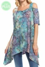 NWT Plus 3XL Blue Purple Cold Shoulder Stretch Tie Dye Asymetric Tunic Top Shirt