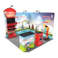 Trade show A9 Corner Display booth 10ft (TV stand, Display shelves, Kiosk)