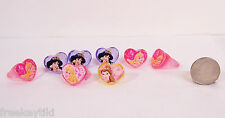 "Disney Princess JASMINE BELLE BEAUTY Movie 8 PC LOT Acrylic Ring 1"" Party Favors"