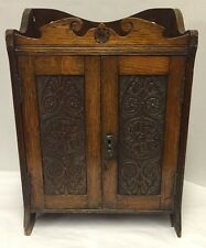 Oak Cabinet Pipe Antique Wood Tobacco Smoker Small Desk Top Wall Hanging