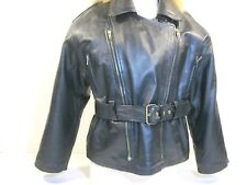 Womens Leather Jacket - Black - Rock And Roll Motorcycle Coat - Size L