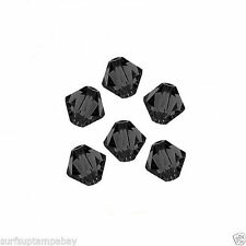 CRYSTAL GLASS BEADS 3X3.5MM FACETED BICONE JET OPAQUE BLACK 100 BEADS