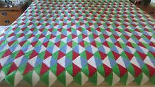 LARGE HEAVY HANDMADE CROCHET AFGHAN DIAMOND PATTERN RED BLUE GREEN WHITE 76X90