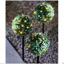 3 x 27 LED SOLAR POWERED TOPIARY BALL WITH STAKES DUAL FUNCTION GARDEN LIGHTS