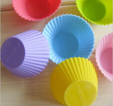 12 Pcs Multi-color Silicone Cake muffin Cupcake Mold Round Shape Baking Mould
