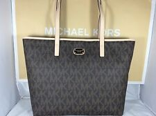 NWT Michael Kors Brown PVC Jet Set Item Laptop Multifunction East West Tote Bag
