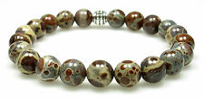 BRACELET - OCEAN ORBICULAR JASPER 8mm Round Crystal Bead w/Description - Healing