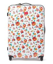 "BETSEY JOHNSON White 32"" BRIGHT LIGHTS FLORAL Roller Carry-On Luggage - NEW"