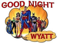 """JUSTICE LEAGUE HEROS Personalized PILLOWCASE """"GOOD NIGHT"""" Any NAME Super Soft"""