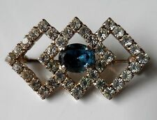 Vintage 80s ART DECO Style Clear & Blue Diamante Stone Glitz Brooch
