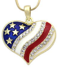 Patriotic July 4th USA US American National Flag Heart Pendant Necklace n34