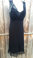 ROBBIE BEE Black Slip Dress 100% Silk Sequin SIZE 8 Sheer Spaghetti Straps Small