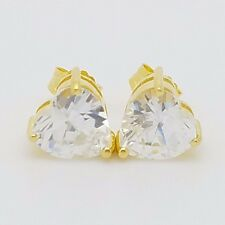 New Sterling Silver 14k 18k Gold Plated Small Heart CZ Stud Earrings Mothers Day