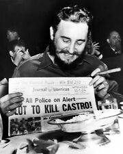 Fidel Castro with Plot to Kill Castro Paper  Black and White Art  Print Poster