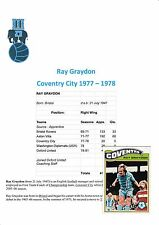 RAY GRAYDON COVENTRY CITY 1977-1978 ORIGINAL HAND SIGNED A.B.C.CARD