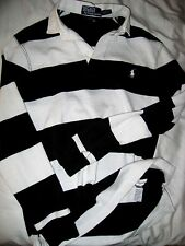 POLO RALPH LAUREN RUGBY SEWN NUMBER BLACK WHITE 8 BALL RUGBY SHIRT-CUSTOM FIT- S