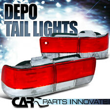 Fit Honda 92-93 Accord 4Dr Sedan Tail Lights Brake Stop Rear Lamp Red Clear