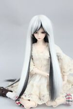 "BJD Doll Hair Wig 7-8"" 1/4 SD DZ DOD LUTS White and Black Straight Long"
