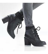BLOWFISH NEW MYSTERY BLACK LACE UP COMBAT HIGH HEEL MILITARY ANKLE BOOTS UK 7