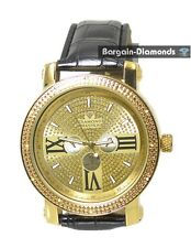 men's diamond gold tone watch gold dial black leather ice out master maxx joe aq
