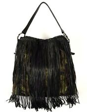 PRADA Green Camoflauge Tessuto Nylon & Black Leather Fringe Hobo Bag