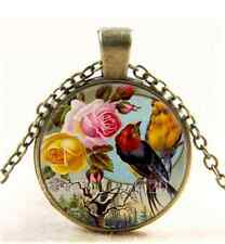 Vintage Beautiful Roses & Birds Cabochon Glass Bronze  Chain Pendant Necklace