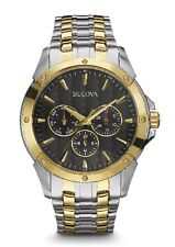 New Bulova 98C120 Two Tone Stainless Steel Black Dial 30m Men's Watch