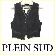 Plein Sud vintage high-tech black cropped vest w/leather trim~S