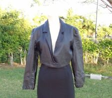 VINTAGE PIERRE BALMAIN BLACK LEATHER CROP JACKET Sz 38