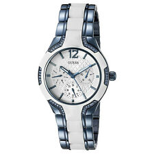 NEW GUESS WATCH Women * Shiny Blue Tone / White Silicone Inset * U0556L9