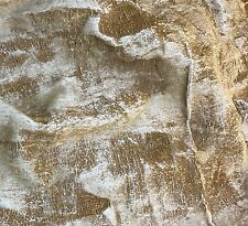 "Hand Painted Silk Velvet Fabric - Metallic Gold on White Fat 1/4 18""x22"""