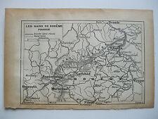 antica mappa antique old print map   Mariánské Lázně MARIENBAD BOHEME 1914
