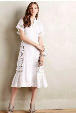 $568 Anthropologie BYRON LARS White Sunlace Crochet  Shirtdress Midi Dress 0 XS