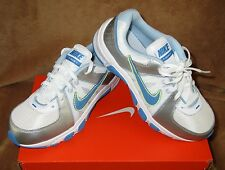 NEW NIKE T-RUN 5 RUNING SHOE WHITE/SILVER/LIME GREEN/BLUE YOUTH SZ 1